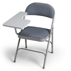 300 Series Steel Folding Chair - Warm Grey Vinyl - Right Hand Tablet Arm - Pkg Qty 2