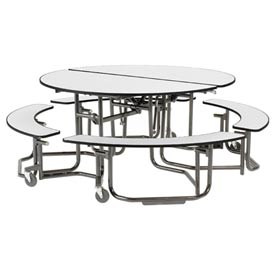 Uniframe Mobile Cafeteria Table Round - White Nebula Top - Black Frame