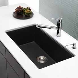 Kraus KGU-413B 31 inch Undermount Single Bowl Black Onyx Granite Kitchen Sink