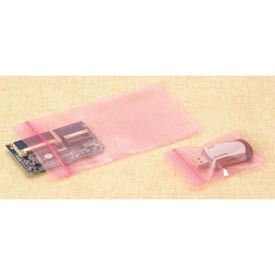 "Reclosable Zip Top Anti-Static Bags, 13""W x 18""L 4 Mil Pink, 1000/CASE"