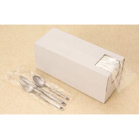 Clear Silverware Bags in Dispenser Box 0.65 mil, 3.75X10 +1.75 FT, 2000 per Case, Clear