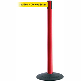 "Tensabarrier Popular 38""H Red Post 7.5'L BLK/YLW Caution-Do Not Enter Retractable Belt"