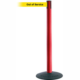 "Tensabarrier Popular 38""H Red Post 7.5'L BLK/YLW Out of Service Retractable Belt"