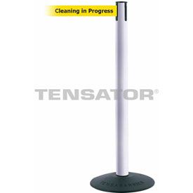 "Tensabarrier Popular 38""H White Post 7.5'L BLK/YLW Cleaning in Progress Retractable Belt"