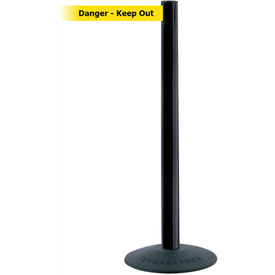 "Tensabarrier Popular 38""H Black Post 7.5'L BLK/YLW Danger-Keep Out Retractable Belt"