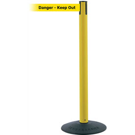 "Tensabarrier Popular 38""H Yellow Post 7.5'L BLK/YLW Danger-Keep Out Retractable Belt"