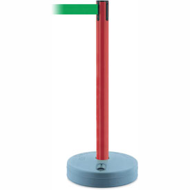 Tensabarrier Red Outdoor Post 7.5'L Green Retractable Belt Barrier