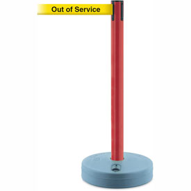 Tensabarrier Red Outdoor Post 7.5'L BLK/YLW Out of Service Retractable Belt Barrier