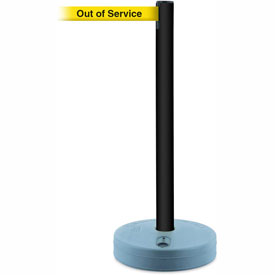 Tensabarrier Black Outdoor Post 7.5'L BLK/YLW Out of Service Retractable Belt Barrier