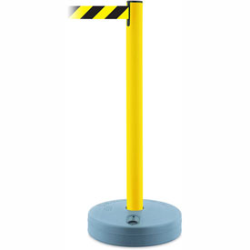 Tensabarrier Yellow Outdoor Post 7.5'L Black/Yellow Chevron Retractable Belt Barrier