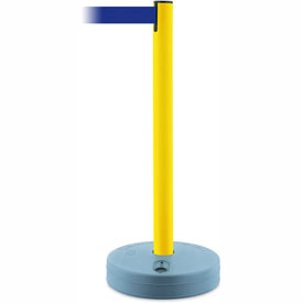 Tensabarrier Yellow Outdoor Post 7.5'L Blue Retractable Belt Barrier