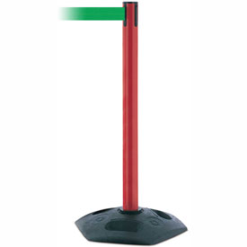 Tensabarrier Red Heavy Duty Post 7.5'L Green Retractable Belt Barrier