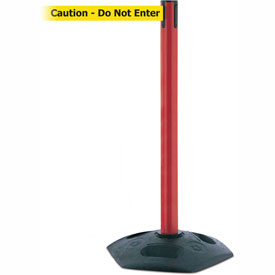Tensabarrier Red Heavy Duty Post 7.5'L BLK/YLW Caution-Do Not Enter Retractable Belt Barrier