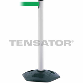 Tensabarrier White Heavy Duty Post 7.5'L Green Retractable Belt Barrier