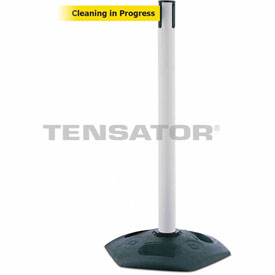 Tensabarrier White Heavy Duty Post 7.5'L BLK/YLW Cleaning in Progress Retractable Belt Barrier