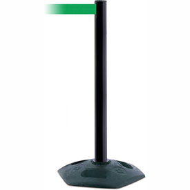 Tensabarrier Black Heavy Duty Post 7.5'L Green Retractable Belt Barrier