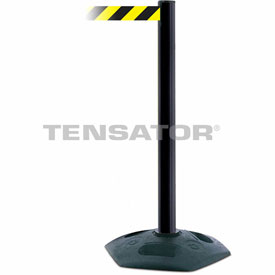 Tensabarrier Black Heavy Duty Post 7.5'L Black/Yellow Chevron Retractable Belt Barrier