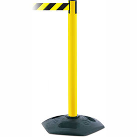Tensabarrier Yellow Heavy Duty Post 7.5'L Black/Yellow Chevron Retractable Belt Barrier