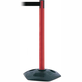 Tensabarrier Red Heavy Duty Post 7.5'L Black Retractable Belt Barrier
