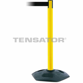 Tensabarrier Yellow Heavy Duty Post 7.5'L Black Retractable Belt Barrier