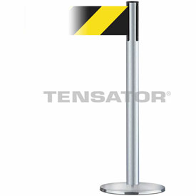 Tensabarrier Satin Chr Plus Adv Univ 7.5'L BLK/YLW Chevron Retractable Belt Barrier
