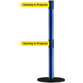 Tensabarrier Blue Advance Dual Line 7.5'L BLK/YLW Cleaning in Progress Retractable Belt Barrier