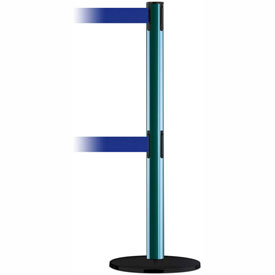 Tensabarrier Green Advance Dual Line 7.5'L Blue Retractable Belt Barrier