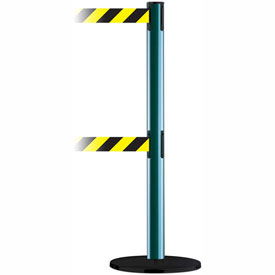 Tensabarrier Green Advance Dual Line 7.5'L Black/Yellow Chevron Retractable Belt Barrier