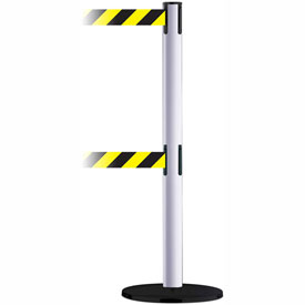 Tensabarrier White Advance Dual Line 7.5'L Black/Yellow Chevron Retractable Belt Barrier