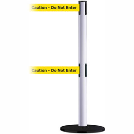Tensabarrier White Advance Dual Line 7.5'L BLK/YLW Caution-Do Not Enter Retractable Belt Barrier