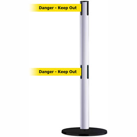 Tensabarrier White Advance Dual Line 7.5'L BLK/YLW Danger-Keep Out Retractable Belt Barrier