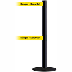 "Tensabarrier Advance Dual Line 7.5' L Black Retractable Blet Barrier - Blk/Ylw ""Danger-Keep Out"""