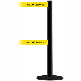 "Tensabarrier Advance Dual Line 7.5' L Black Retractable Belt Barrier - Blk/Ylw ""Out of Service"""