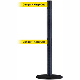 Tensabarrier BLK Wrinkle Adv Dual Line 7.5'L BLK/YLW Danger-Keep Out Retractable Belt Barrier