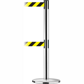 Tensabarrier Pol SS Advance Univ Dual Line 7.5'L Black/Yellow Chevron Retractable Belt Barrier