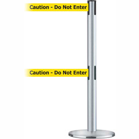 Tensabarrier Satin SS Adv Univ Dual Line 7.5'L BLK/YLW Caution-Do Not Enter Retractable Belt Barrier