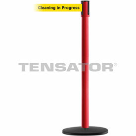 Tensabarrier Red Slimline 7.5'L BLK/YLW Cleaning In Progress Retractable Belt Barrier