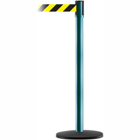 Tensabarrier Green Slimline 7.5'L Black/Yellow Chevron Retractable Belt Barrier