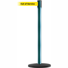 Tensabarrier Green Slimline 7.5'L BLK/YLW Out of Service Retractable Belt Barrier