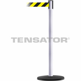 Tensabarrier White Slimline 7.5'L Black/Yellow Chevron Retractable Belt Barrier