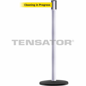 Tensabarrier White Slimline 7.5'L BLK/YLW Cleaning in Progress Retractable Belt Barrier