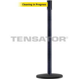 Tensabarrier BLK Wrinkle Slimline 7.5'L BLK/YLW Cleaning in Progress Retractable Belt Barrier