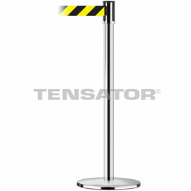 Tensabarrier Pol Chrome Slimline 7.5'L Black/Yellow Chevron Retractable Belt Barrier