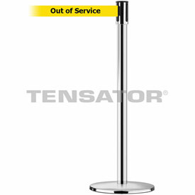Tensabarrier Pol Chrome Slimline 7.5'L BLK/YLW Out of Service Retractable Belt Barrier