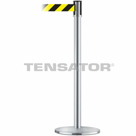 Tensabarrier Satin Chrome Slimline 7.5'L Black/Yellow Chevron Retractable Belt Barrier