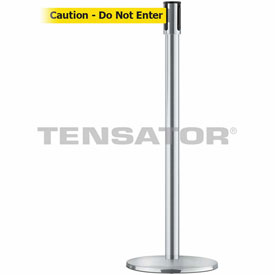 Tensabarrier Satin Chrome Slimline 7.5'L BLK/YLW Caution-Do Not Enter Retractable Belt Barrier