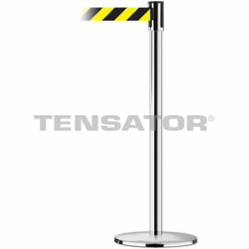 Tensabarrier Pol Stainless Slimline 7.5'L Black/Yellow Chevron Retractable Belt Barrier