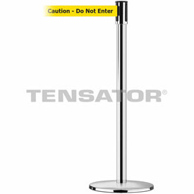 Tensabarrier Pol Stainless Slimline 7.5'L BLK/YLW Caution-Do Not Enter Retractable Belt Barrier