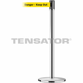 Tensabarrier Pol Stainless Slimline 7.5'L BLK/YLW Danger-Keep Out Retractable Belt Barrier