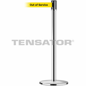 Tensabarrier Pol Stainless Slimline 7.5'L BLK/YLW Out of Service Retractable Belt Barrier